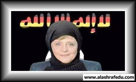 صورة المستشاره الألمانيه ميركل بالحجاب www.alashrafedu.com1