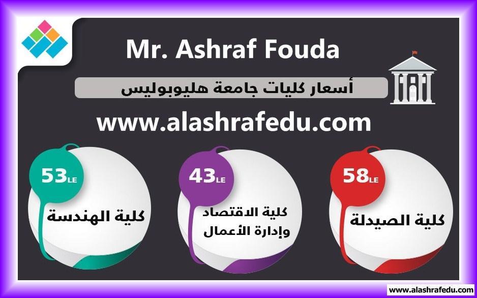 إنفوجراف أسعار كليات جامعة هليوبوليس 2018 www.alashrafedu.com1
