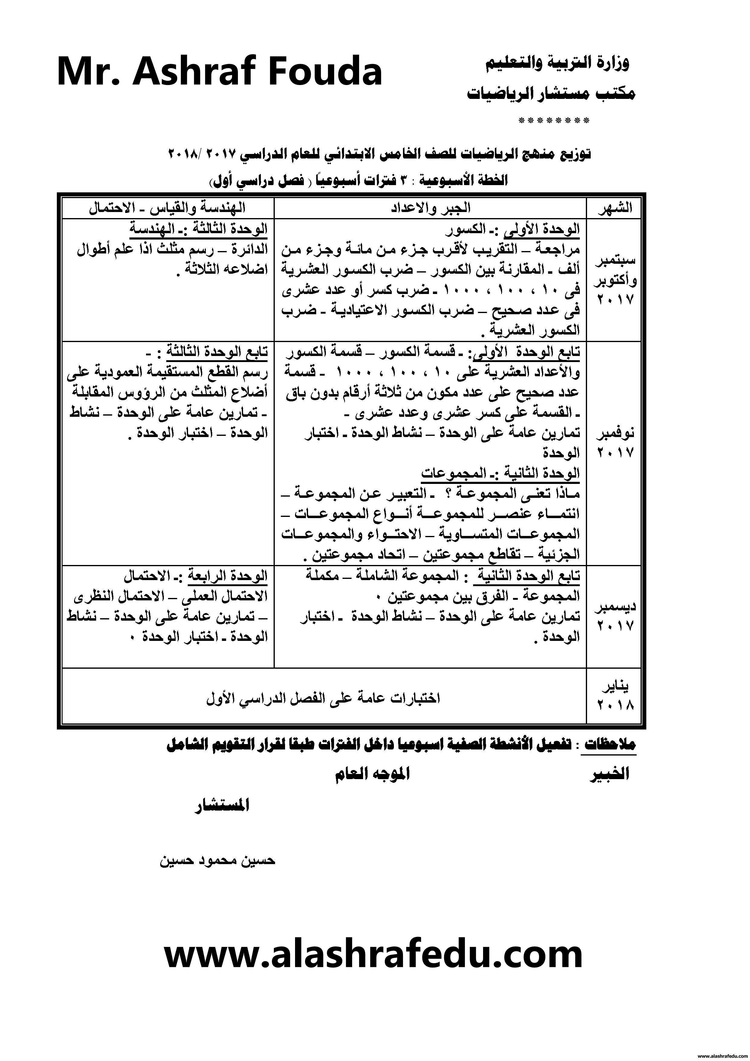 توزيع منهج الرياضيات 2018 الخامس الإبتدائى الترم www.alashrafedu.com1