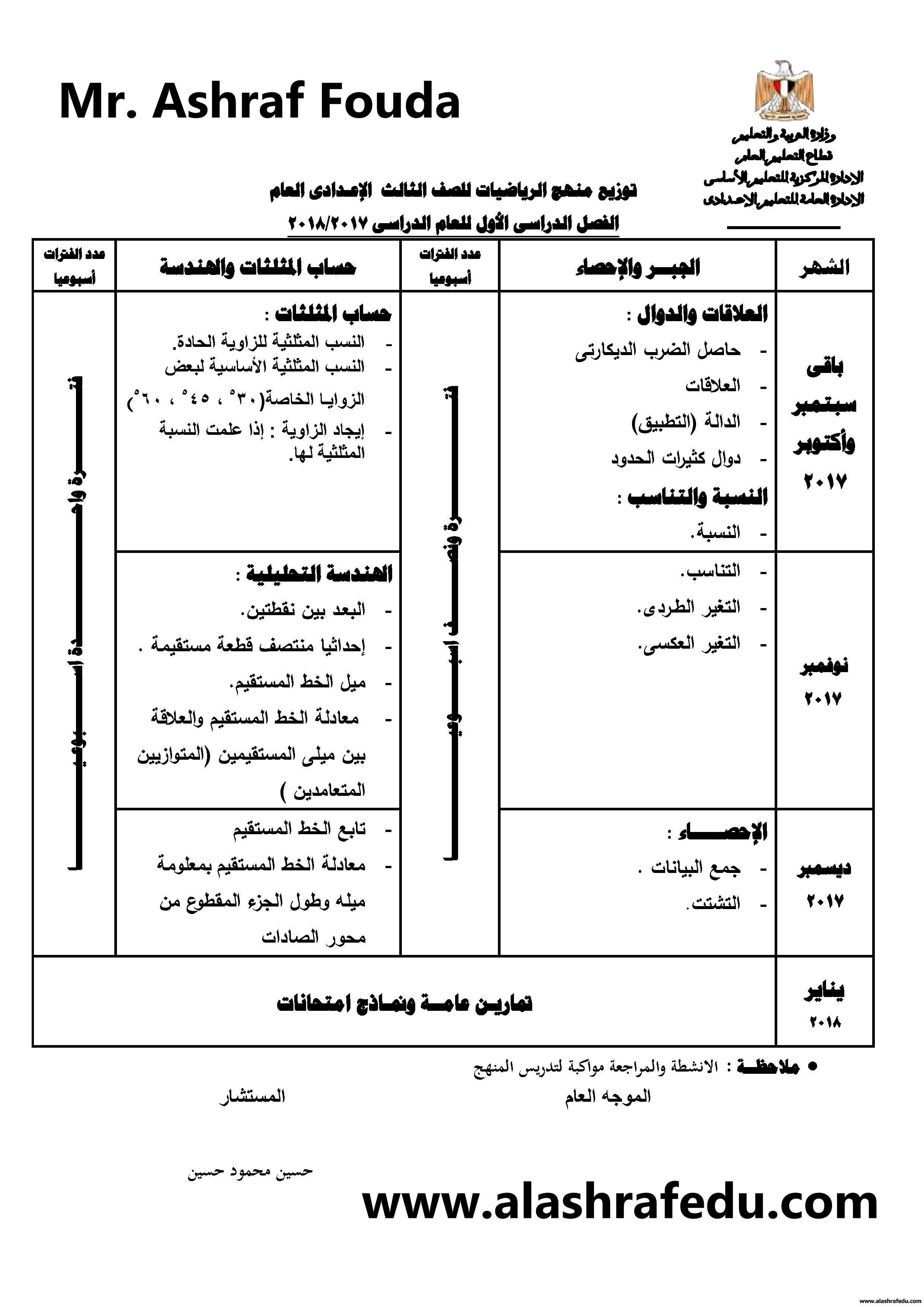 توزيع منهج الرياضيات 2018 الثالث www.alashrafedu.com1