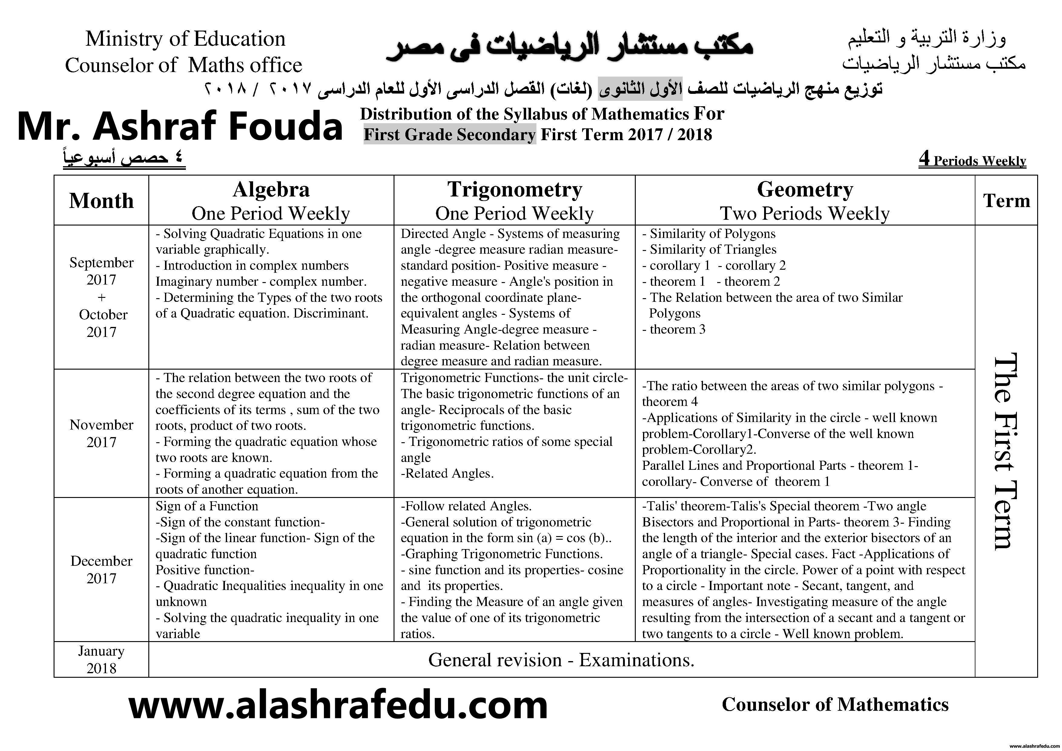 توزيع منهج الرياضيات لغات 2018 الأول الثانوى www.alashrafedu.com1
