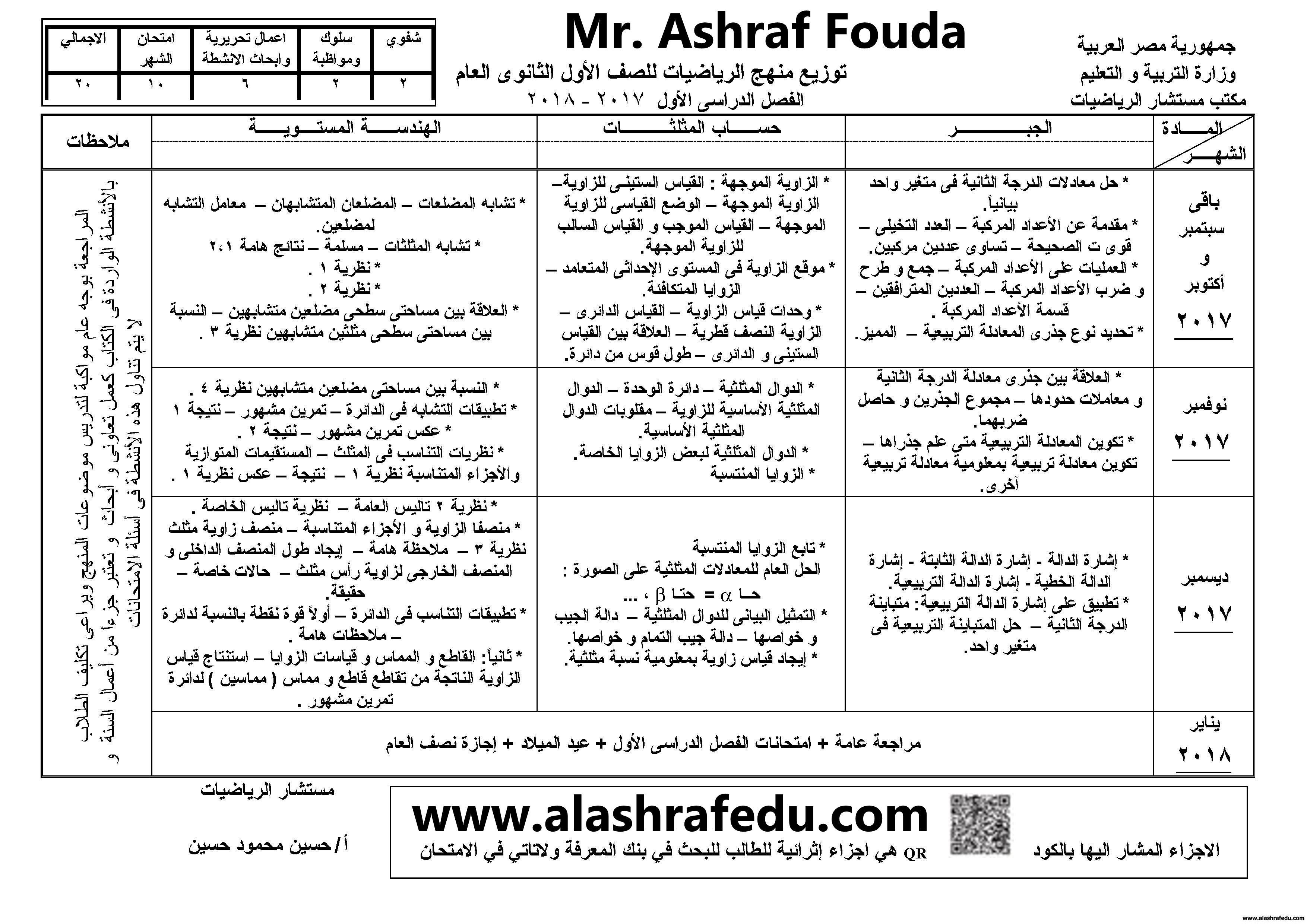 توزيع منهج الرياضيات 2018 الأول www.alashrafedu.com1