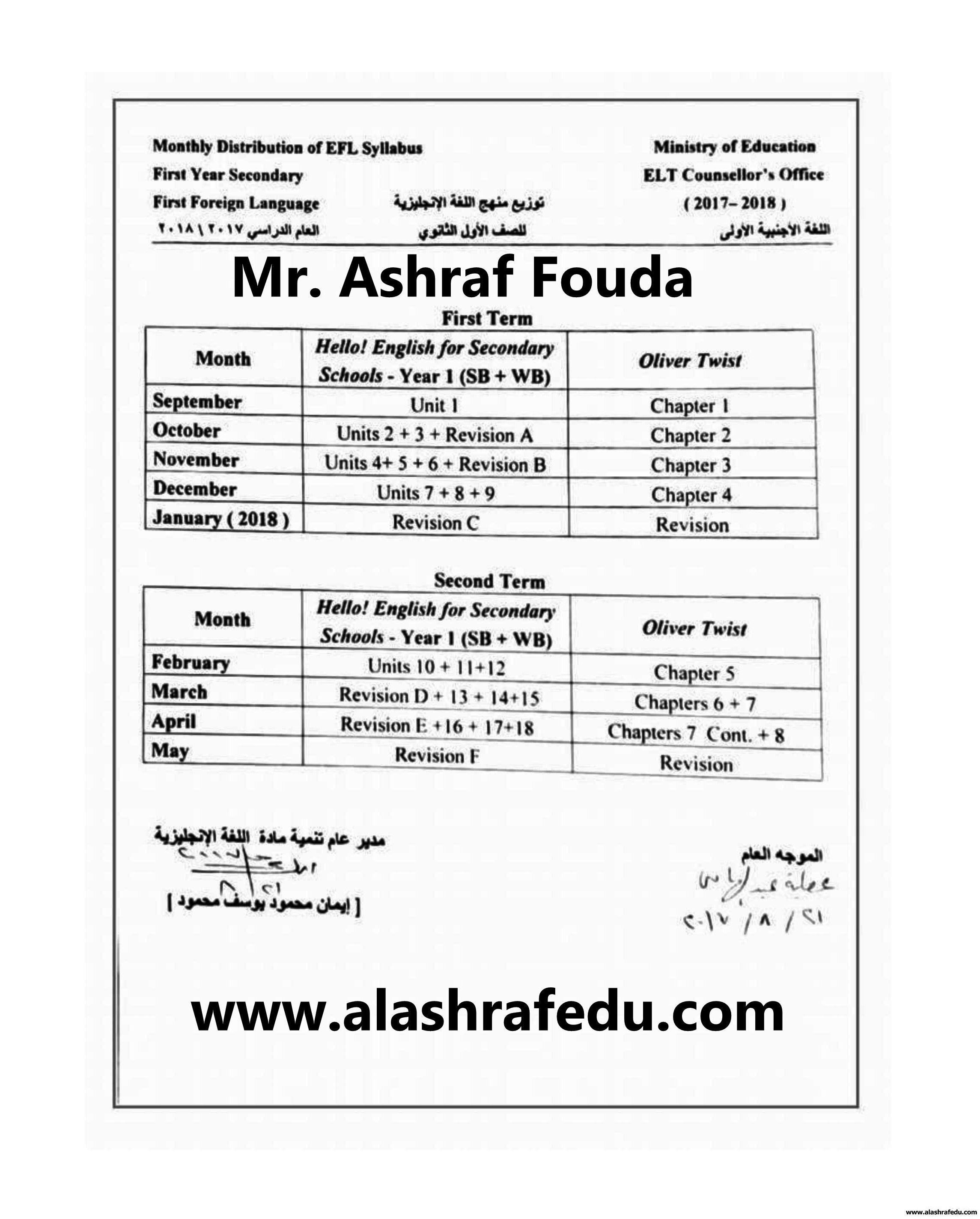 توزيع منهج اللغه الإنجليزيه 2018 www.alashrafedu.com1