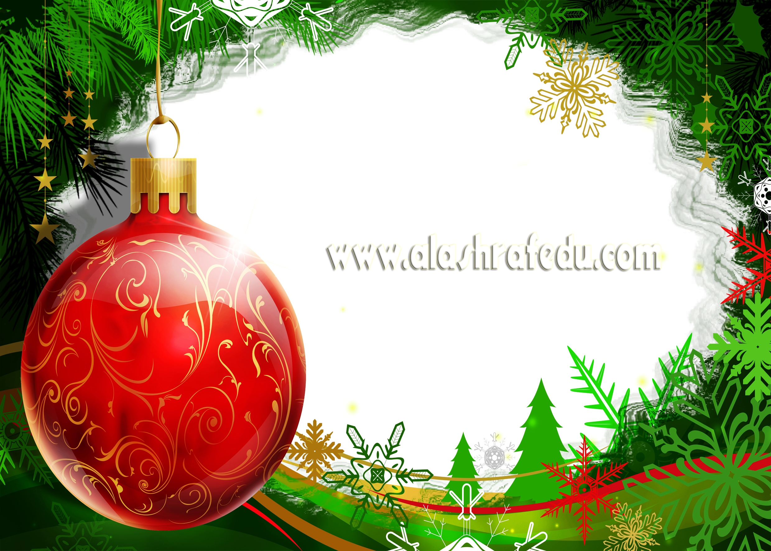 Christmas Transparent Frame With Christmas Ball 2019 www.alashrafedu.com1