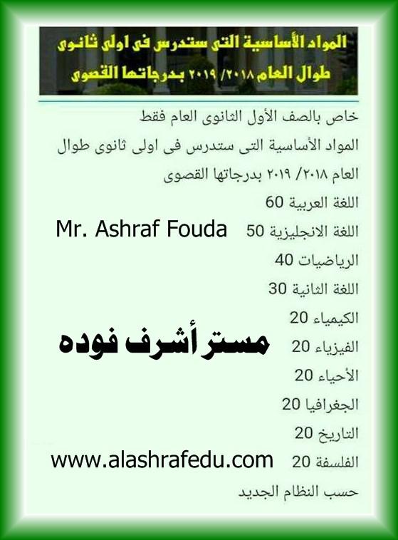 المواد الأساسيه التى ستدرس أولى www.alashrafedu.com1