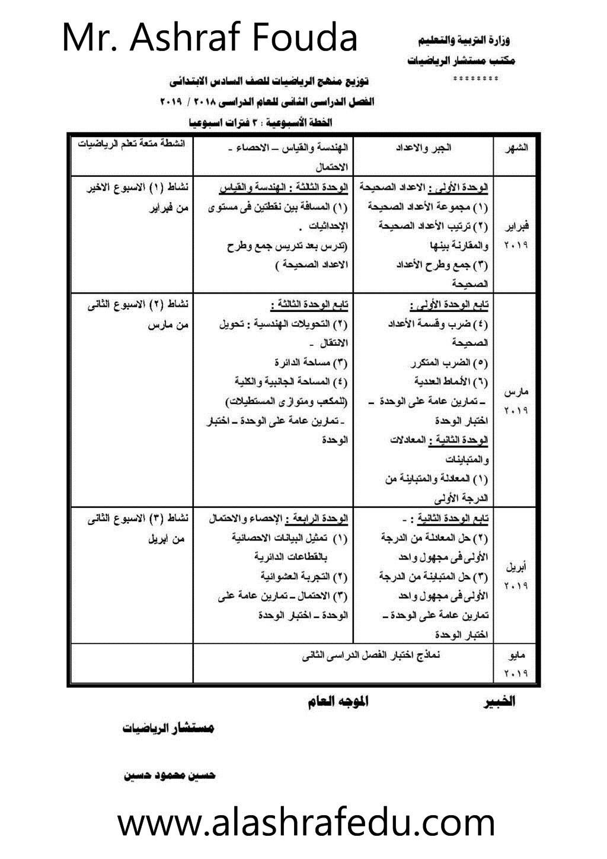 دراسة توزيع منهج الرياضيات 2018-2019 السادس الإبتدائى www.alashrafedu.com1