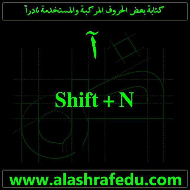 كتابة الحروف المركبه المستخدمه نادراً Shift www.alashrafedu.com1