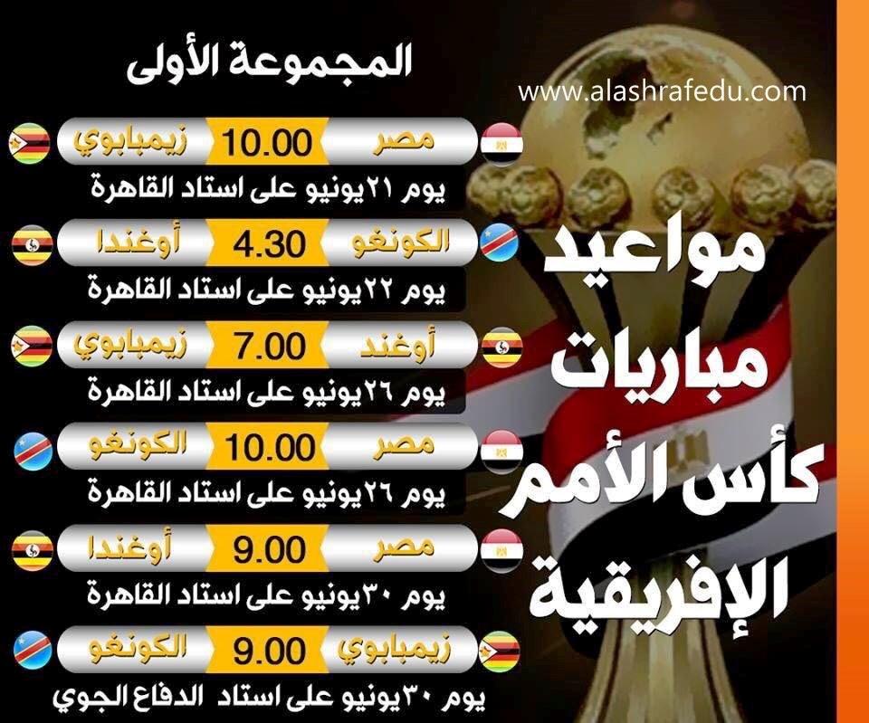 مواعيد مباريات المجموعه الأولى بكأس الأمم الأفريقيه بمصر 2019 www.alashrafedu.com1